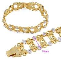 Cubic zirconia pulsera, pulsera, brazalete de joyería de moda, de cobre con baño de oro de 18 quilates brazalete pulsera, Link y Cadena (China (continental))