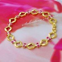Cubic zirconia pulsera, pulsera, brazalete de joyería de moda, de cobre con baño de oro de 18 quilates brazalete, pulsera CZ (China (continental))