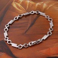 Cubic zirconia pulsera, pulsera de moda, con la pulsera de cobre chapado en platino, pulsera CZ, Link y Pulsera (China (continental))