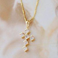 Collar libre, colgante de la Cruz, de cobre con baño de oro de 18 quilates colgante, collar de circonio cúbico y colgante, al por mayor y al por menor (China (continental))