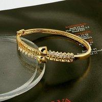 Circonita Bangle, CZ Pulsera, brazalete de cobre con oro amarillo de 18K plateado, la pulsera de la Mujer, envío gratis (China (continental))