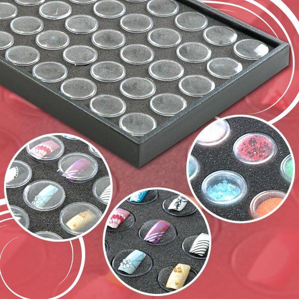 50 POTS DELUXE FALSE NAIL ART STORAGE CASE BOX Black Organizer Display