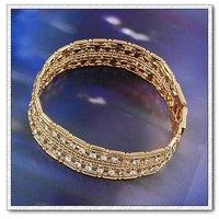 Pulsera CZ, cadena de pulsera de moda, de cobre con baño de oro de 18 quilates brazalete pulsera, Link y cadena, pulsera de bisutería (China (continental))