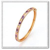Pulsera de piedras preciosas, Pulsera de moda, con pulseras de cobre chapado en oro de 18 quilates, Joyería CZ Bangle, Gastos de envío gratis (China (continental))
