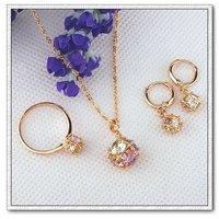Conjunto de joyas, de cobre con oro de 18 quilates chapado, Cubic Zirconia configuración, colgante y pendientes (twinset), Free collar (China (continental))