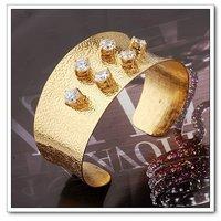 Euro brazalete estilo, pulsera de moda pulseras, pulsera de cobre con baño de oro 18k, joyería CZ Bangle, envío gratis (China (continental))