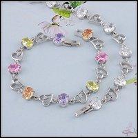 Pulsera CZ, cadena de pulsera de moda, de cobre con el platino brazalete plateado Link, y la cadena de pulsera, joyas de moda pulsera (China (continental))