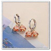 Pendientes colgantes, pendientes de cobre con platinado, Cubic Zirconia, Gastos de envío gratis (China (continental))