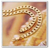 Moda collar de cadena, con el collar de cobre chapado en oro de 18 quilates, un collar largo, las joyas Collar, Gastos de envío gratis (China (continental))