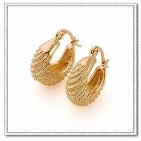 Pendientes de aro, de cobre con baño de oro de 18 quilates pendientes, pendientes de la moda, Gastos de envío gratis (China (continental))