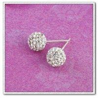 925 aretes de plata, aretes de diamantes de imitación de bolas, pendientes de la manera, envío gratis (China (continental))
