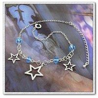 Estrellas de tobillera, con tobillera de cobre chapado en platino, joyería de moda tobillera, Gastos de envío gratis (China (continental))