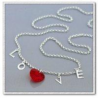 Collar de cristal, del cobre con collar de platino plateado, collar de amor del corazón colgante, Gastos de envío gratis (China (continental))