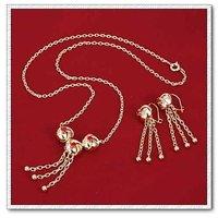 Moda perla conjunto de joyas de cobre con platinado, la configuración de bisutería, colgante y pendientes (twinset), Free collar (China (continental))
