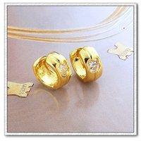Pendientes de aro, de cobre con baño de oro de 18 quilates pendientes, pendientes cz, pendientes de piedras preciosas, Gastos de envío gratis (China (continental))