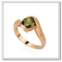 cz anillo de cobre con oro de 18 quilates anillo plateado, un anillo de 18KGP, un anillo de piedras preciosas, al por mayor y al por menor (China (continental))