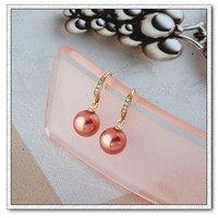 Pendientes de perlas, de cobre con baño de oro de 18 quilates pendientes, circonio cúbico y aretes de perlas, Gastos de envío gratis (China (continental))