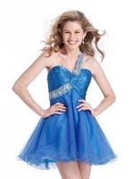 One Shoulder Blue Prom Gown