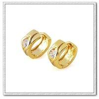 Pendientes de aro, joyería de imitación, de cobre con baño de oro de 18 quilates pendientes, pendientes cz, pendientes de piedras preciosas, Gastos de envío gratis (China (continental))