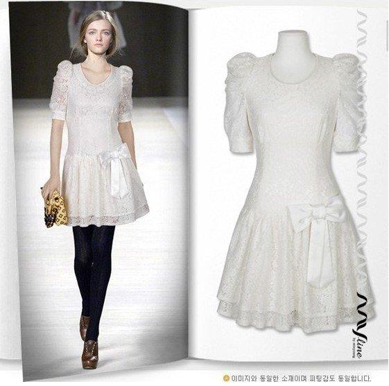 wholesale lace dress, Europe &United States style Rose-like bow Pure dress ...