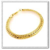 Moda joyas pulsera, brazalete de aleación, de cobre con oro 18k pulsera, cadena y pulsera de Enlace, envío gratis (China (continental))