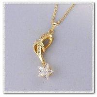 Collar libre, colgantes Star, de cobre con oro 18k, colgante cz, Gastos de envío gratis (China (continental))