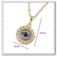 Collar libre, colgantes ojos azules, de cobre con oro 18k, colgante cz, Gastos de envío gratis (China (continental))