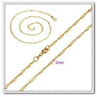 Waterwave collar, collar de la cadena de moda, de cobre con collar de oro 18k, collar de joyas, Gastos de envío gratis (China (continental))