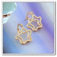 Estrellas de la moda pendientes, de cobre con baño de oro de 18 quilates pendientes, aretes, Gastos de envío gratis (China (continental))
