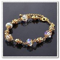 Joyas pulsera de cristal, del cobre, con pulsera de oro 18k, pulsera del encanto, Gastos de envío gratis (China (continental))