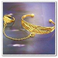 Pulsera bebé, de cobre con brazalete de oro 18k, la pulsera + anillo, Gastos de envío gratis (China (continental))