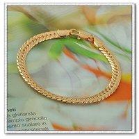 Moda joyas pulsera, brazalete clásico, de cobre con oro 18k pulsera, cadena y pulsera de Enlace, envío gratis (China (continental))