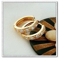 Pendientes de aro, de cobre, con pendientes de oro de 18 quilates CZ, pendientes de piedras preciosas, Gastos de envío gratis (China (continental))