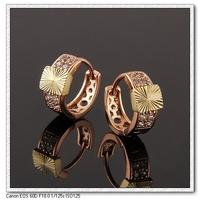 Pendientes de aro, de cobre, con pendientes de oro de 18 quilates CZ, joyería pendiente de la moda, Gastos de envío gratis (China (continental))