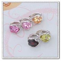 Pendientes de aro, de cobre con aretes de platino plateado circón, joyas pendiente de la moda, Gastos de envío gratis (China (continental))