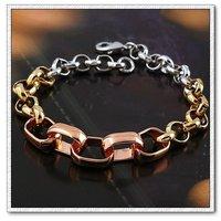 Encanto de la moda joyas pulsera, brazalete de tres colores, el cobre con el platino brazalete plateado Link, y pulsera de cadena, envío gratis (China (continental))