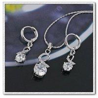 Configuración de la bisutería, el cobre con platinado conjunto de joyas CZ colgante y pendientes (twinset), un collar gratis (China (continental))