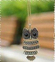 COLLAR moda joyas Owl collar de cobre vintage precioso búho de oro Murano Colgante Collar (China (continental))
