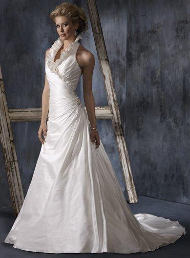 ruffle halter bridal gown ladies charming beaded wedding dress satin wedding
