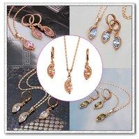 Configuración de la bisutería, el cobre con oro de 18 quilates chapado en conjunto joyas CZ colgante y pendientes, collar gratis (China (continental))