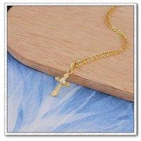 Collar libre, colgante de la Cruz, de cobre con oro de 18k colgante plateado, zirconia cúbico, Gastos de envío gratis (China (continental))
