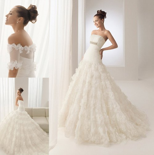 Brush Train Sleeveless Ruffles Ivory Wedding Dresses Bridal Gown 009