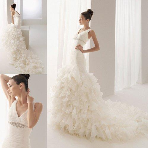 v neck ruffle wedding dress