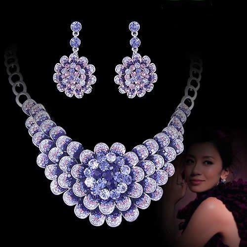 bridal jewelry set purple flower swaroki crystal necklace evening dress