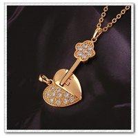 Collar libre, el amor siempre pendiente, de cobre, con colgante de circón 18k oro, Gastos de envío gratis (China (continental))