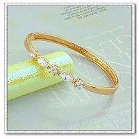 Pulsera simple, con brazalete de cobre chapado en oro de 18 quilates, joyas zirconia pulsera, envío gratis (China (continental))