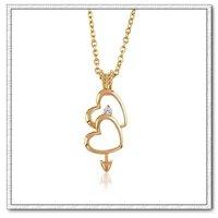 Collar libre, moda colgante collar de cobre con oro 18k, colgante del corazón en corazón, envío gratis (China (continental))
