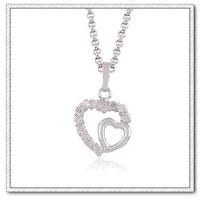 Collar libre, moda colgante collar de cobre con platinado corazón, en colgante corazón, envío gratis (China (continental))
