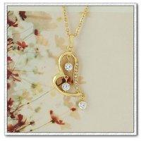 Collar libre, pendiente la forma del corazón, de cobre con oro 18k colgante de circonio cúbico, Gastos de envío gratis (China (continental))
