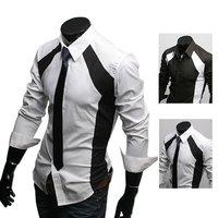 Мужская повседневная рубашка Mens Shirts Irregular Front Long-sleeve Slim Casual Shirt Cotton Retail & C21